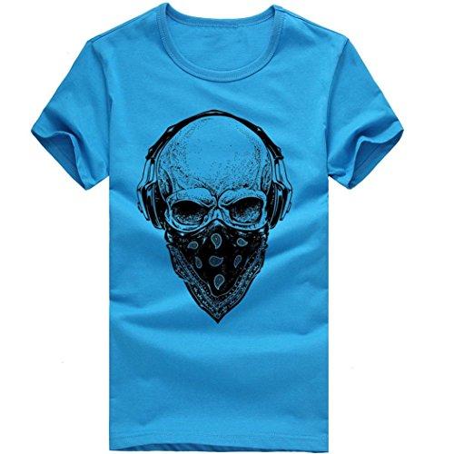 À 2 shirt Manches Blouse Col Mode Rond Top Courtes Casual Bluestercool T Bleu Hommes Impression RpqBq