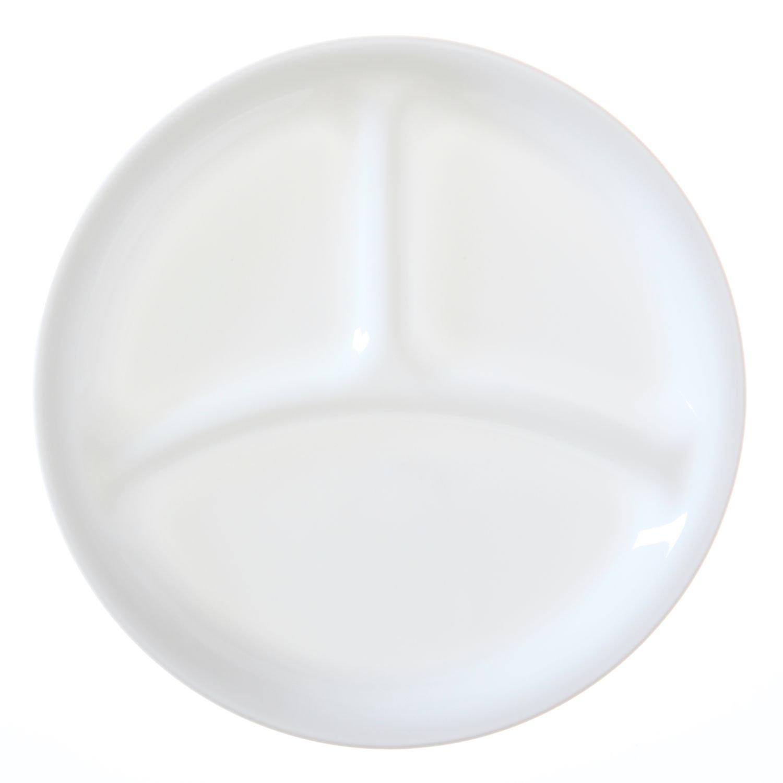 Corelle Livingware set of 4 8-1/2-Inch Divided Dish, Winter Frost White 1057557
