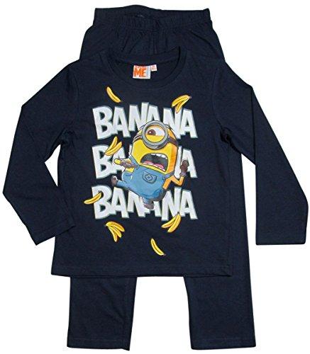 Minions Schlafanzug Kollektion 2016 Pyjama 110 116 122 128 134 140 146 152 Lang Jungen Neu Herbst Winter Nachtwäsche Banana Blau (134 - 140)