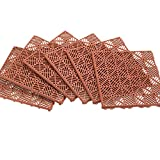 "terra cotta tile Collections Etc Interlocking Patio 11-1/2"" Square Tile Flooring - 6 Piece Set - Easy to Install, Terracotta"