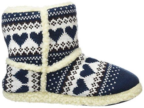 Slumberezz warm boot slippers pretty heart design for women Navy lkPJAf6nj