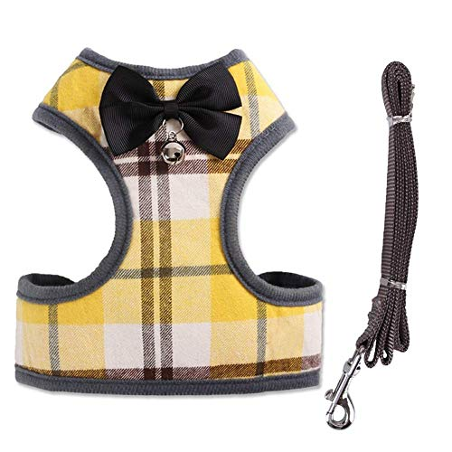 Rantow Heavy Duty Pet Dog Harness Vest + Pet Dogs Leash - Classic Plaid Puppy Harness Kitty Lead Rope Set for Small Dogs Big Cats - with Cute Bow Tie & Bell (L, Yellow Plaid)