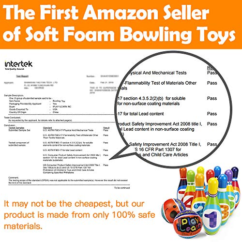iPlay, iLearn Kids Bowling Play Set, Foam Ball Toy Gifts, Educational, Early Development, Sport, Indoor Toys, 10 Pins and 2 Balls for Ages 2, 3, 4, 5 Years Old, Children, Toddlers, Boys & Girls