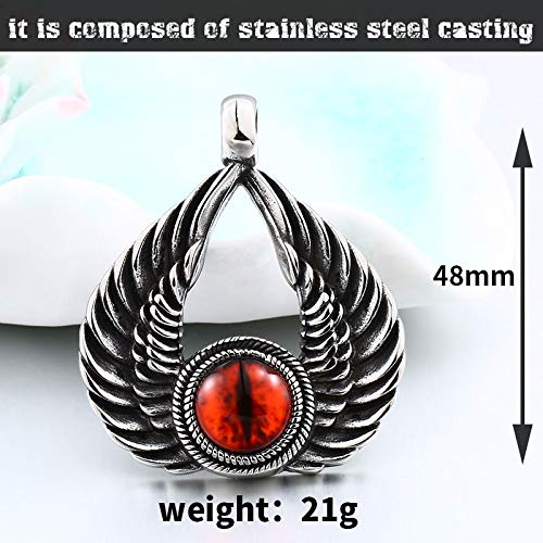 Metal Color: Silver Plated Davitu Punk Stainless Steel Winged with Evil Red Eye Feather Pendant Necklace for Man Women Vintage Left Jewelry BP8-346