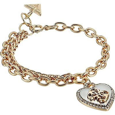 GUESS Womens Pave Framed Heart Charm Bracelet with 4 G Logo Silver/Gold/Crystal 7.5 in + 1 in adjustable One Size free shipping