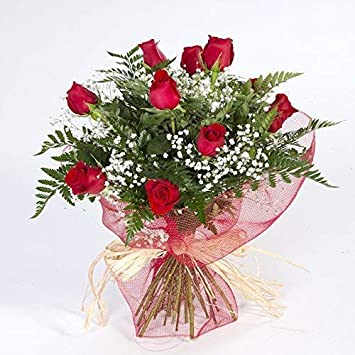 dfb3f82b588c Ramo de 12 rosas rojas naturales FLORES FRESCAS-Entrega en 24 horas:  Amazon.es: Jardín