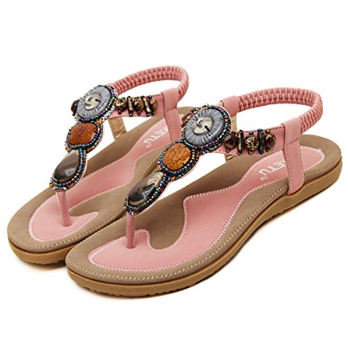 Oasap Damen Fashion Bohemia Sommer Beads Sandalen, Rosa EURO39/US7/UK5