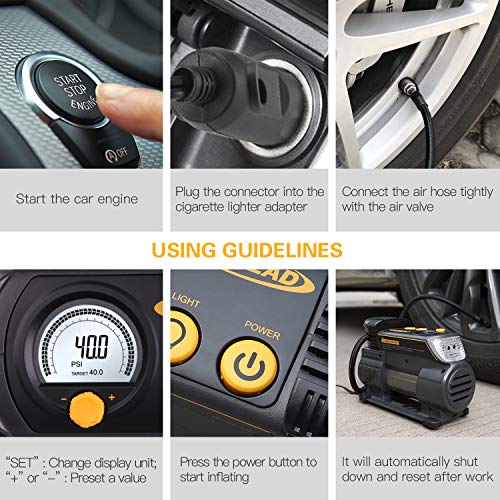 AUTLEAD Tire Inflator, 12V Portable Air Compressor - Compact Auto Tire Pump with Digital Gauge, Emergency Light, Fast Inflating for Car, Bicycle, Ball, Balloon - C2