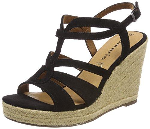 Black Tamaris Back WoMen Sling Red Sandals 001 Black 28374 a6zqwUf