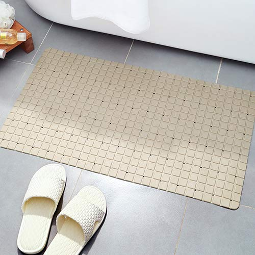 Non-Slip Bathtub Shower Safty Mats (28 x 15.8 Inch) 80 Suction Cups Soft Anti-Slip Squares, Mildew Resistant, Anti Bacterial, Phthalate Free, Easy Clean, Superior Drainage (1, Apricot)