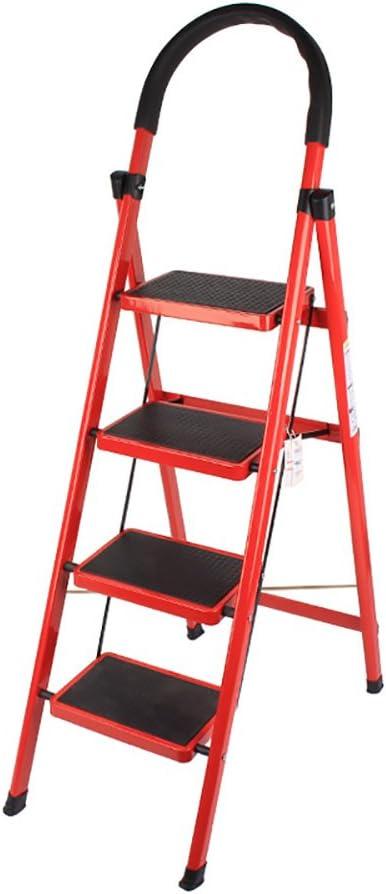 LFF Hogar Hierro Plegable Pedal Ancho Antideslizante Escalera de 4 Pasos Escalera de Seguridad portátil Plegable Escalera pequeña con rieles de Seguridad Subir la Escalera (Color : Rojo): Amazon.es: Hogar