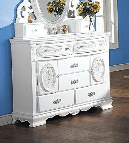 ACME 01665 Flora Dresser with Doors, White Finish