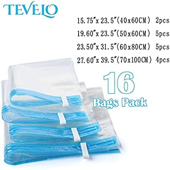 ONE DAY SALE!! 16 Pcs Clothing Vacuum Sealer Bags For Closet Storage, Clothes Shrink & Moving Supplies With [Free] Travel Hand Pump (Jumbo Size,XL,Large,Medium) Space Saver