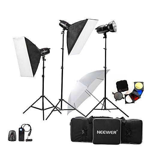 Neewer 750W(250W x 3)Professional Photography Studio Flash Strobe Light Lighting Kit for Portrait Photography,Studio and Video Shoots( EG-250B) by Neewer