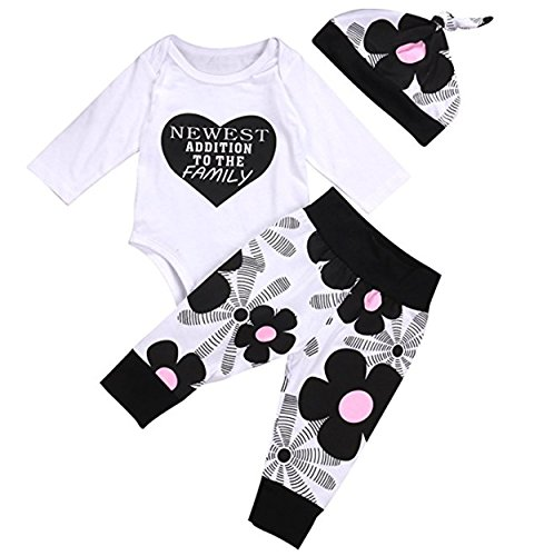 3Pcs Newest Baby Boy Girl Cotton Romper Tops Pants Hat Outfits Set Clothes (100(12-18 months)) (Months Romper Outfit)