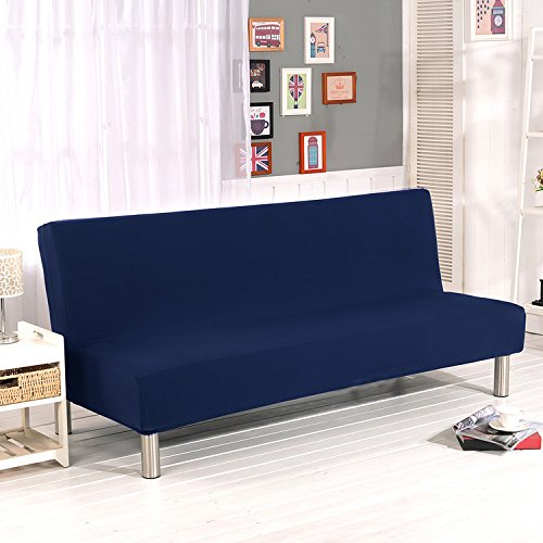 Armless Sofa Slipcover Stretch Sofa Bed Cover Protector Elastic Spandex Modern Simple Folding Couch Sofa Shield Futon Cover by Yunhigh - Dark Blue