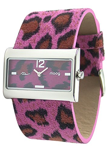 Moog Paris - Wild Origin - Women's Watch with pink dial, pink strap in Genuine calf leather, made in France - M41632-005