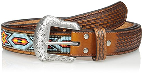 Nocona Men's Blue Tribal Bead, Tan, 36 Beaded Leather