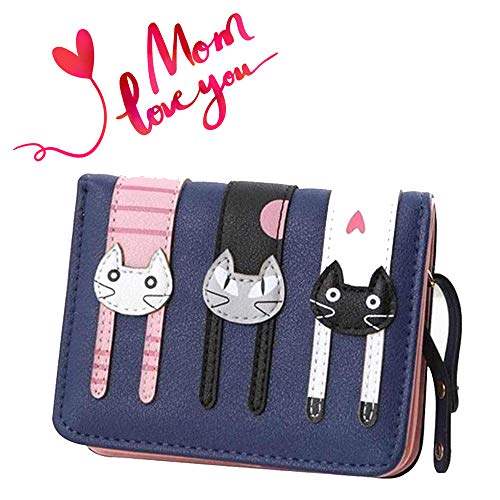 (Prime Day&Deals Sale Offers 2019-Valentoria Birthday Gifts for Women's Mini Faux Leather Bifold 3 Cat Design Clutch Wallet(Navy Blue))