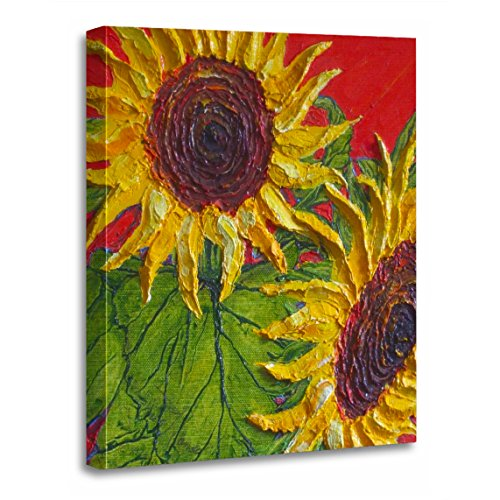 TORASS Canvas Wall Art Print Floral Yellow Sunflowers Fine Flowers Impasto Painting Nature Artwork for Home Decor 24