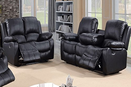 Pleasing Toro 3 2 Seater Recliner Sofa Set Leather Black Squirreltailoven Fun Painted Chair Ideas Images Squirreltailovenorg