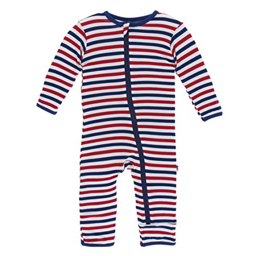 Kickee Pants Little Boys Print Coverall With Zipper - USA Stripe, Boys 5 Years