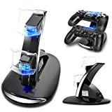 Dualshock 4 Controller Charger, Likorlove Dual USB Charging Dock, Charger Docking Station for Compatible with Sony Playstation 4 PS4 / PS4 Pro / PS4 Slim Wireless Controller