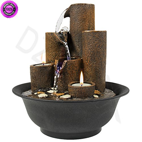DzVeX Home Accent Tabletop Fountain Waterfall W/3 Candles And LED Lights And indoor wall fountains indoor floor fountains tabletop water fountains indoor water fountains indoor water