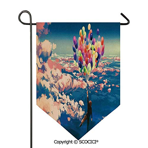 (SCOCICI Easy Clean Durable Charming 12x18.5in Garden Flag Man Flying with Colorful Balloons in The Sky on Clouds Miracle Paint Print,Coral Blue Double Sided Printed,Flag Pole NOT Included)