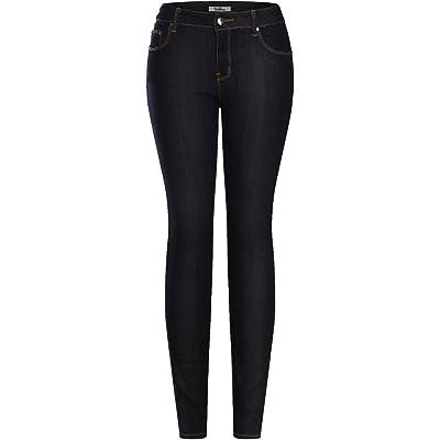 2LUV Women's Stretchy 5 Pocket Dark Denim Skinny Jeansat Women's Jeans store