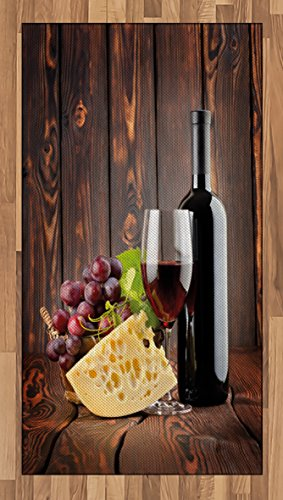 Ambesonne Wine Area Rug, Red Wine Cabernet Bottle and Glass Cheese and Grapes on Wood Planks Print, Flat Woven Accent Rug for Living Room Bedroom Dining Room, 2.6' x 5', Burgundy Brown