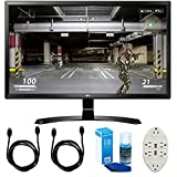 LG (27UD58-B) 27' 4K UHD IPS Freesync Gaming Splitscreen LED Monitor w/ Accessories Bundle Includes, 2x 6' HDMI Cable, Universal Screen Cleaner & Transformer Tap USB w/ 6-Outlet Wall Adapter & 2-Ports