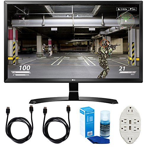 "Price comparison product image LG (27UD58-B) 27"" 4K UHD IPS Freesync Gaming Splitscreen LED Monitor w/ Accessories Bundle Includes, 2x 6' HDMI Cable, Universal Screen Cleaner & Transformer Tap USB w/ 6-Outlet Wall Adapter & 2-Ports"