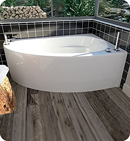 Gentil Neptune 10.15516.5500.10 Wind WI60D 60u0026quot; White Corner Bathtub With  Skirt, Left Side