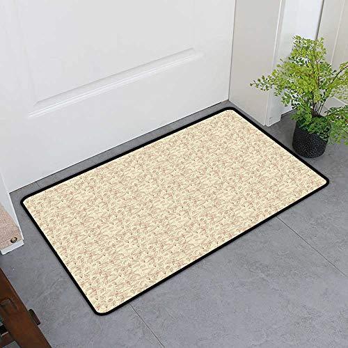 Custom&blanket Scraper Entrance Mat, Beige Non-Slip Doormats for Office, Vintage Flower Pattern Abstract Lined Foliage Arrangement Leaves Retro Art Nouveau (Beige Redwood, H36 x W60)
