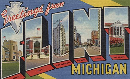 Flint, Michigan - Large Letter Scenes Collectible Giclee Gallery Print, Wall Decor Travel Poster