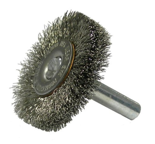Weiler Stainless Steel Radial Bristle Brush - 1 1/2 in OD, 0.0118 in Bristle Dia & 20000 Max RPM - 17973 [PRICE is per WHEEL]