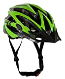 Sport Direct AWE Wave Free 5 Year Crash Replacement Men's Bicycle Helmet - Black/Lime Green, Size 56-58cm
