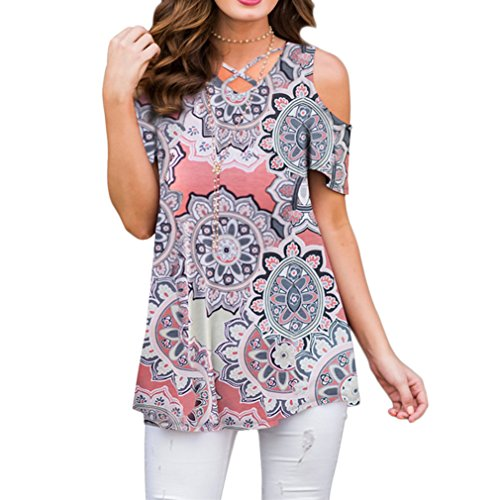 ZRMY Women's Cold Shoulder Floral Print Blouse Short Sleeve T-Shirts Criss Cross Tunic Tops (Coral Peach, - Blouse Top Cotton