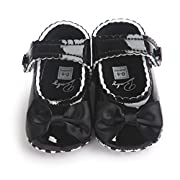 Sabe Infant Baby Girls Soft Sole Prewalker Crib Mary Jane Shoes Princess Light Shoes (12cm(6-12 month), black)