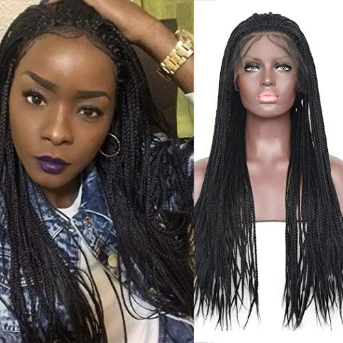 BLUPLE Yaki Micro Braided 1b Synthetic Lace Front Wigs Fully Hand Tied Heat Resistant Hair Braiding Styles Fiber Hand Braided Wig for Black Women (24 inches, Yaki Micro Braided,#1B)