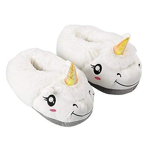 Ruiying Unisexo Unicornio Felpa Suave Calentar Zapatillas Zapatos Niño Como Regalo, Talla Única EU25-33, Blanco: Amazon.es: Zapatos y complementos