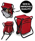 Folding Cooler and Stool Backpack - Multifunction Red Collapsible Camping Seat and Insulated