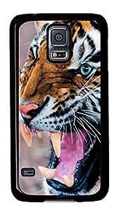 Diy Fashion Case for Samsung Galaxy S5,Black Plastic Case Shell for Samsung Galaxy S5 i9600 with Snarling Tiger