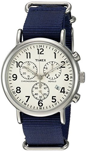 (Timex Unisex TWC063800 Weekender Chrono Cream/Blue Double-Layered Nylon Slip-Thru Strap Watch )