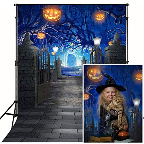 Mehofoto Halloween Backdrop Pumpkin Lantern Mysterious Castle Photography Background 5x7ft Brink Floor Photo Studio Background Children Halloween Themed Artistic Portrait Photocall for $<!--$17.98-->