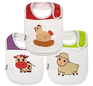 Set of 3 Soft Absorbent Cotton Drool Baby Bibs - Triple Snaps and Fleece Backing