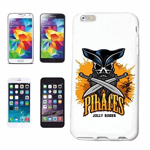 """cas de téléphone iPhone 6S """"CAPITAINE PIRATE PIRATE PIRATE PIRATE CORSAIR SKULL SKELETON"""" Hard Case Cover Téléphone Covers Smart Cover pour Apple iPhone en blanc"""