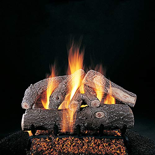 Rasmussen Frosted Oak Log Set with 30-Inch Multi-Burner and Remote Ready Safety Pilot w/ LC30 Valve Vanisher (S306-LC30-VMV-N), Natural Gas, - Ready Remote Set Valve Log