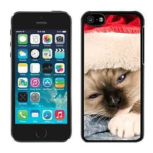 Custom-ized Phone Case Iphone 5C TPU Case Christmas Cat Black iPhone 5C Case 23